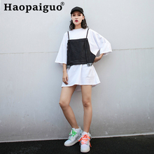 2019 Summer Casual Two Pieces Set Denim Tank and White Shirt Dress Women Hip Hop 2 Ladies Europe Style Dresses