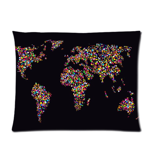 Nice personalized grunge colourful collage of world map on black nice personalized grunge colourful collage of world map on black background picture soft pillowcase 20x26 gumiabroncs Choice Image