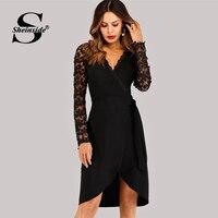 Платье с кружевными рукавами и имитацией запАха
