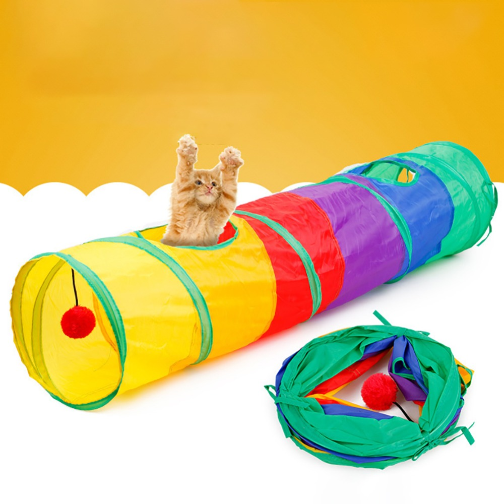 Cat Toys 6 Colors Foldable Pet Cat Toy Tunnel Ring Paper Two-way Tunnel With Hanging Two Balls For Cat Kitten Playing Drill Bucket Grade Products According To Quality