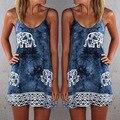 Vintage Women's Summer Dress Elephant Printing Cami Lace Style Shit Dress Femme