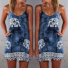 Vintage Women's Summer Dress Elephant Printing Cami Lace Style Shit Dress Femme