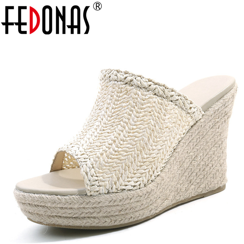 FEDONAS Rome Style Summer Women Sandals Wedge High Heels Peep Toe Comfort Causl Shoes Fashion Beach Shoes Woman White Black women peep toe sandals summer platform wedge invisible high heels boots rome style side zip casual shoes woman silver blue white