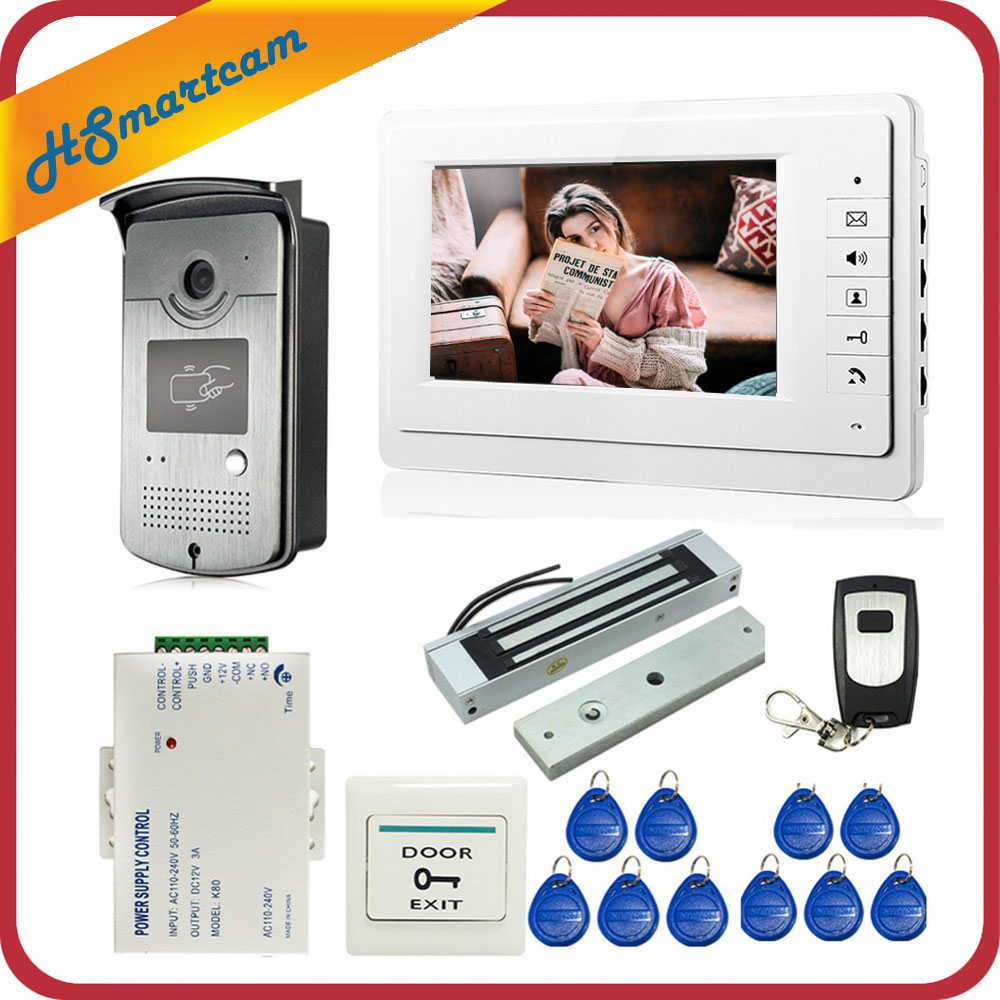 Wired 7 inch Video Door Phone Intercom Entry System 1 Monitor 1 RFID Access HD Camera
