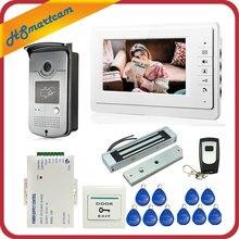 Sistema de intercomunicación para teléfono de puerta con cable, 7 pulgadas, 1 Monitor + 1 cámara HD de acceso RFID + cerradura magnética eléctrica Control de acceso