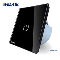 WELAIK Crystal Glass Panel Switch Wall Switch EU Touch Switch Screen Wall Light Switch 1gang1way AC110