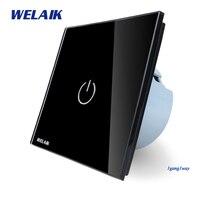 WELAIK Crystal Glass Panel Switch Wall Switch EU Touch Switch Screen Wall Light Switch 1gang1way AC110