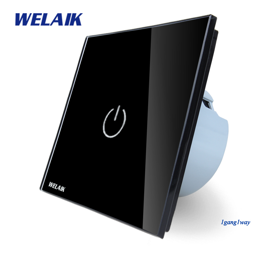 WELAIK Crystal Glass Panel Switch Wall Switch EU Touch Switch Screen Wall Light Switch 1gang1way AC110~250V  LED lamp A1911B mvava 3 gang 1 way eu white crystal glass panel wall touch switch wireless remote touch screen light switch with led indicator