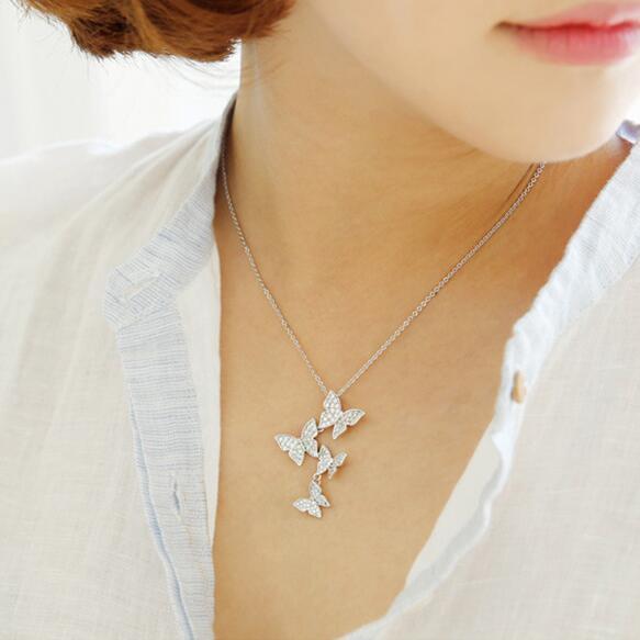 Echt 925 sterling silber lange zirkon schmetterling halsketten anhänger mode sterling-silber-schmuck aussage halskette für Frauen