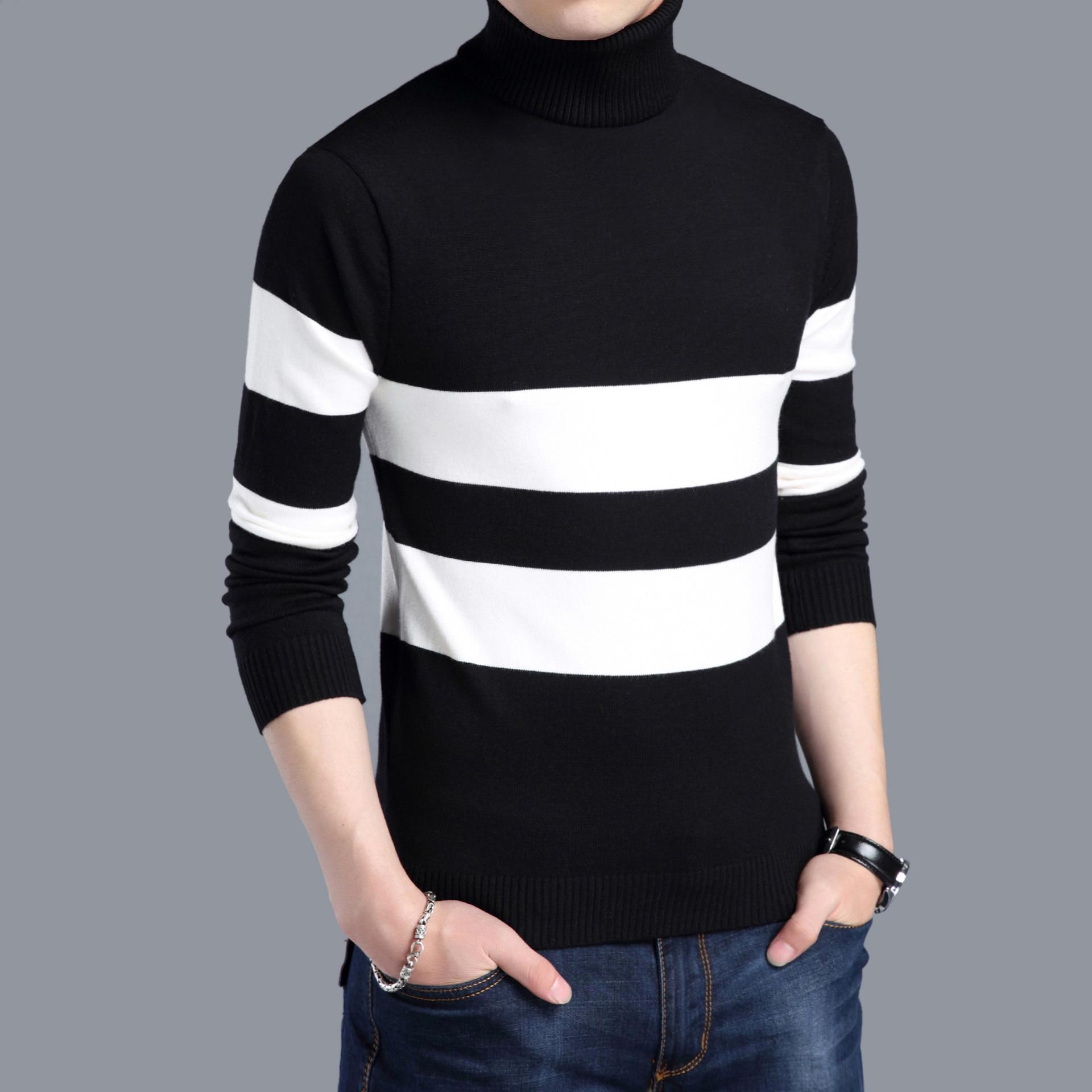 45658ce01845 Men s Winter Warm Thicken Woolen Turtleneck Sweater Autumn Knitted ...