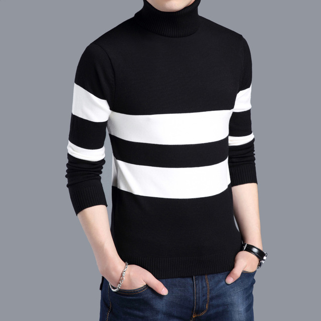Men's Winter Warm Thicken Woolen Turtleneck Sweater Autumn Knitted Christmas Pullover Jumper Slim Jersey Hombre Russian Clothes