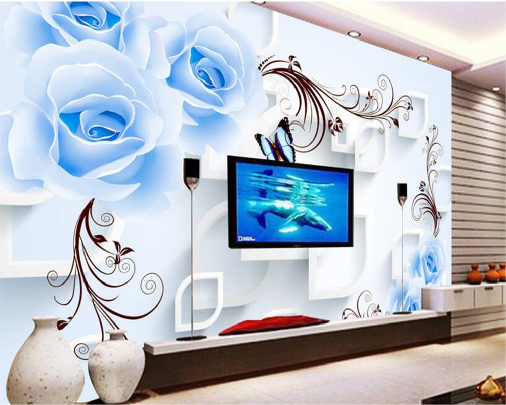 Beibehang Custom Photo Wall Mural 3d Wallpaper Luxury: Beibehang Custom Photo Wallpaper Blue Rose Flower Vine 3d