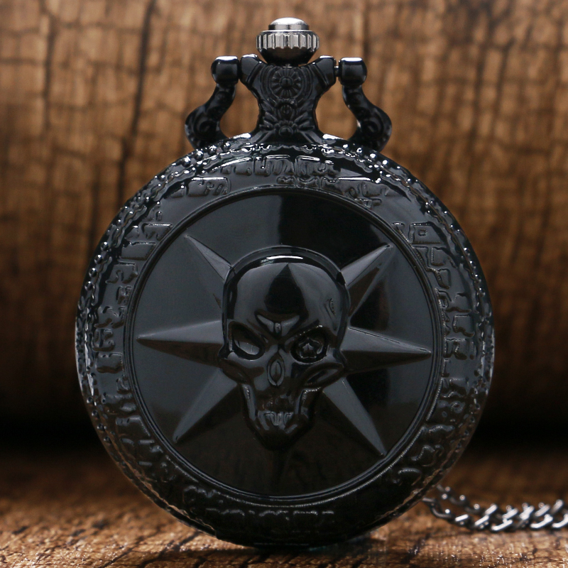 Cool Cross Fire Game Theme Black 3D Skull Design Quartz Pocket Watch With Necklace Chain Clock Drop Shipping
