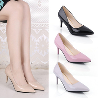 2017Women Pumps Fashion Sexy Pointed Toe Sweet Colorful Thin High Heels Woman Shoes Nude Women S