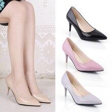 2017 Для женщин Насосы Модные женские пикантные милые Яркие туфли на тонком высоком каблуке с острым носком телесного цвета Для женщин обувь на высоком каблуке, кеды