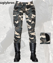 Free Shipping Fashion Casual Camouflage uglybros MOTORPOOL UBS014 Jeans Motorcycle Pants Moto Protection Jeans Women's Jeans