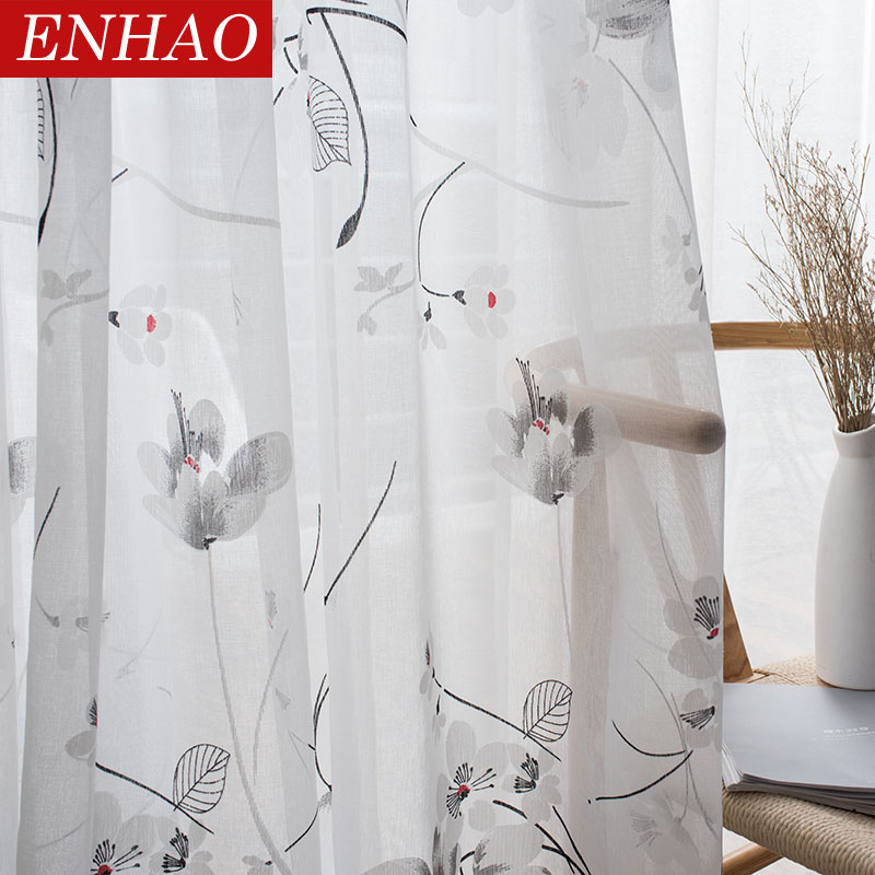ENHAO Floral Modern Sheer Tulle Curtains For Living Room Bedroom Kitchen Voile Sheer Curtains For Window Tulle Curtains Fabrics