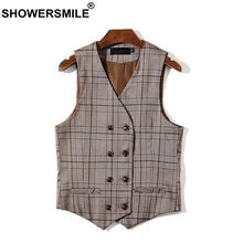 SHOWERSMILE Brown Plaid Mens Double Breasted Waistcoat Plus Size Houndstooth Dress Vest Men Sleeveless Jacket Man Vintage Gilet showersmile mens double breasted vest suit black dress waistcoat for men slim fit sleeveless jacket male spring autumn gilet