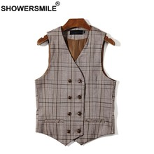 SHOWERSMILE Brown Plaid Mens Double Breasted Waistcoat Plus Size Houndstooth Dress Vest Men Sleeveless Jacket Man Vintage Gilet(China)