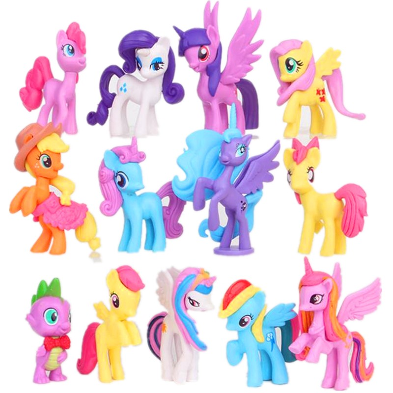 <font><b>12</b></font> pcs/set 5-8cm Rainbow <font><b>horse</b></font> my cute pvc unicorn little ponis <font><b>horse</b></font> action toy <font><b>figures</b></font> dolls for girl birthday christmas gift image