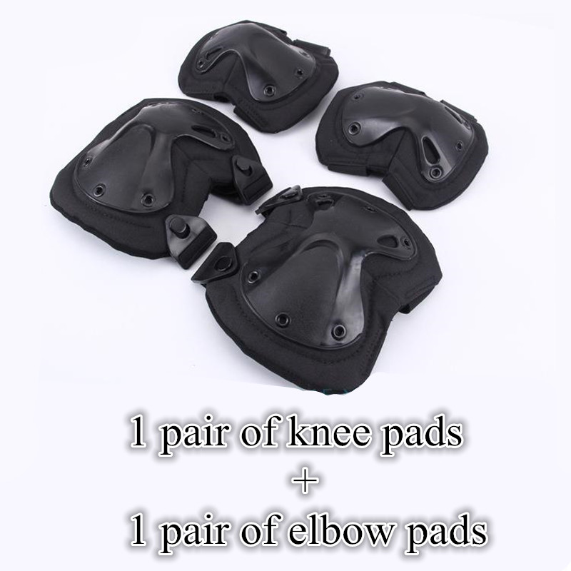 1 set Skating Riding Climbing Sport Knee Brace Elbow Pad Protection Tactical Military Equipment Paintball L169