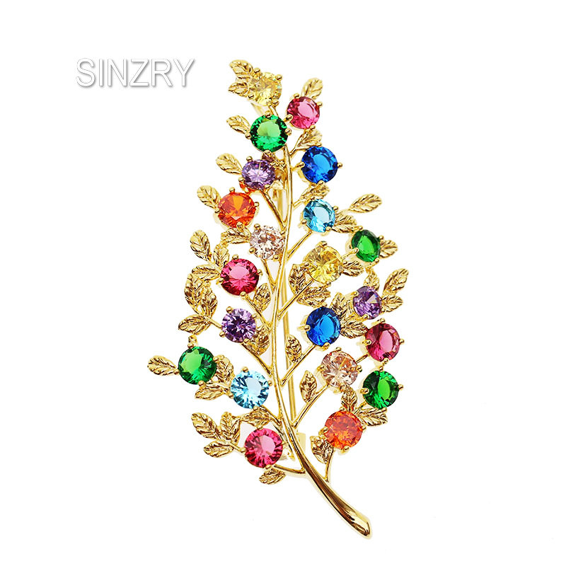 SINZRY Korean jewelry colorful cubic zircon tree branch fashion brooches pin lady luxury jewelry accessory sinzry elegant new 2018 cubic zirconia yellow daisy flower suit brooches pin lady scarf buckle jewelry accessory for women
