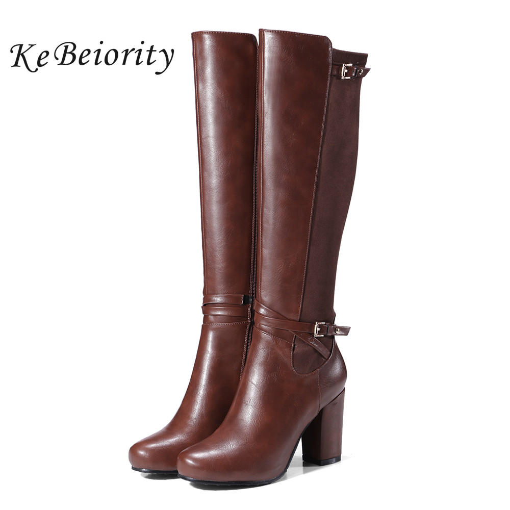 KEBEIORITY High Heels Leather Boots Women Booties Autumn Winter Knee High Boots Heels Female Black Brown Boots Ladies Plus Size plus size 34 43 winter autumn women soft leather knot low heels lovely knee high boots 3colors pink ladies fashion female shoes