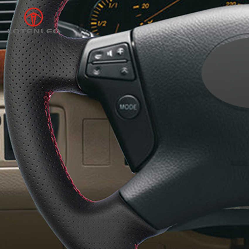 LQTENLEO черная искусственная кожа DIY Ручная сшитая крышка рулевого колеса автомобиля для Toyota Avensis 2003-2007