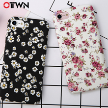 Ottwn Floral Flower Paint Phone Case For iPhone 6 Rose Daisy Green Leaves Cases Hard PC Full Back Cover 6s 7 8 Plus