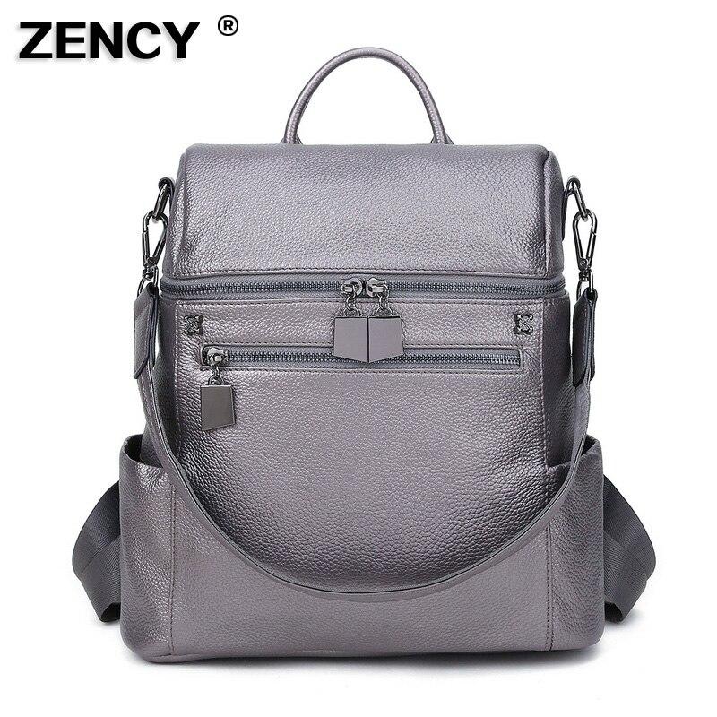 100 Original Top Genuine Leather Women Multifunctional backpacks First Layer Cowhide Girl Female Silver White Rucksack