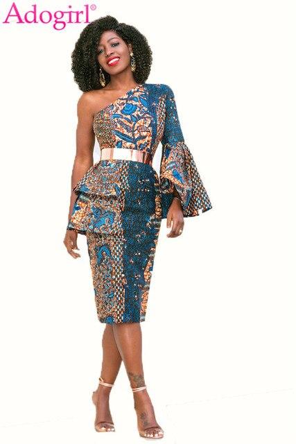 Adogirl Plus Size Women Fashion Print One Shoulder Peplum Dress Flare Long  Sleeve Pencil Midi Evening df4a83d57e8d