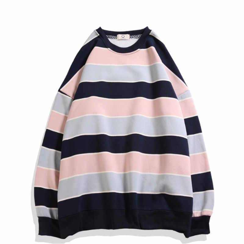 Мужской Весна Япония Осень Свободный пуловер Privathinker мужские полосатые толстовки в стиле хараджуку хип-хоп с круглым вырезом повседневные толстовки