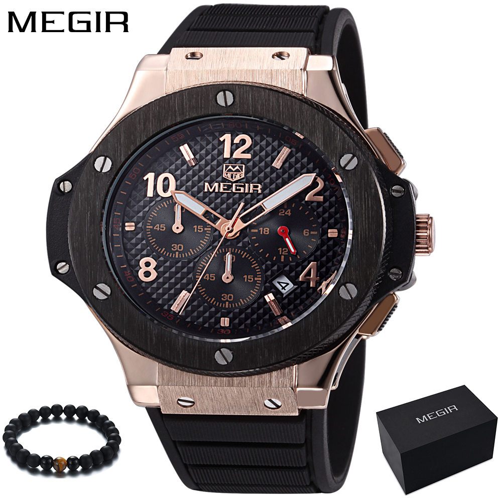 все цены на MEGIR Watch Men Gold Chronograph Sport Mens Watches Top Brand Luxury Military Quartz Men's Watch Wrist Clock Male montre homme