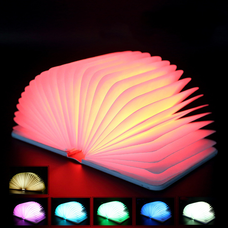 USB Rechargeable night light Led 7 colors changeable Book Shape Light Portable Book lamp for kids bedroom decorations 5 colors foldable book light usb rechargeable chandelier wall led night light bedside lamp for book lover friends christmas gift