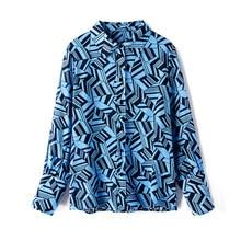 Shuchan Geometric print women shirts and blouses 2019 100% natural silk blue Office Lady Turn-down Collar summer tops R10550