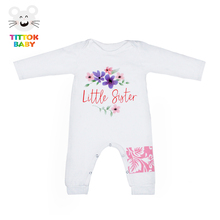 2017 Baby Girl Clothes Little Sister Letter Print Long Sleeve Cotton Floral Baby Wear Jumpsuits Kid
