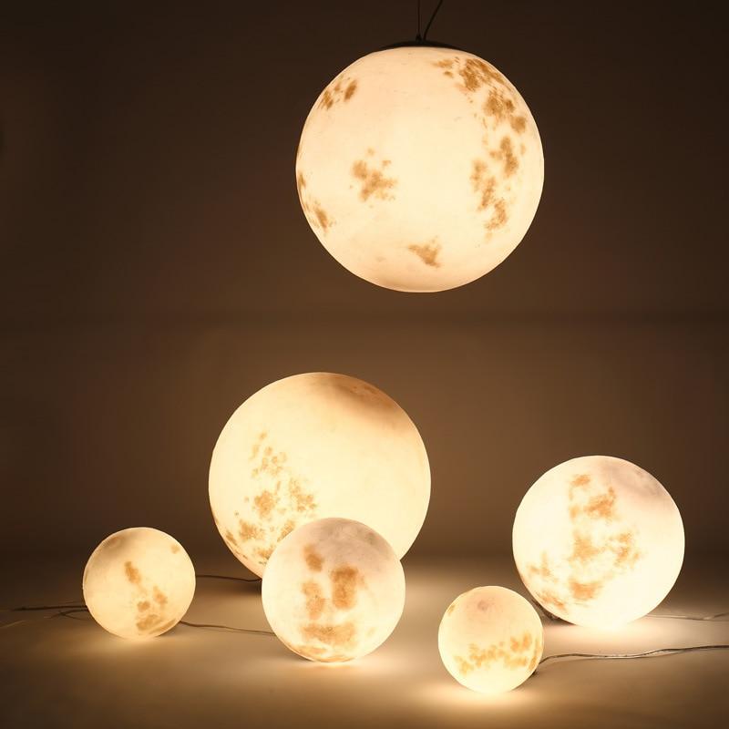 3D Printing Moon Pendant Light Designer Art Decor Acrylic Round Ball Ceiling Suspension Light Restaurant Bar Shop Decoration