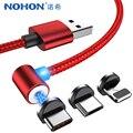NOHON 90 градусов Магнитный кабель светодиодный освещение для iPhone X XS XR 8 Plus Micro usb type C быстрое зарядное устройство кабели для samsung S9 1 м 2 м - фото