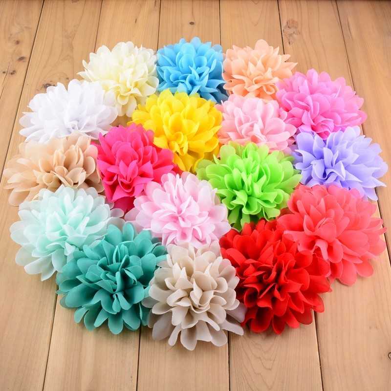 120pcs lot 3 5 8 Colors Tulle Chiffon Assorted Colors Flowers For Kids Headband Polka