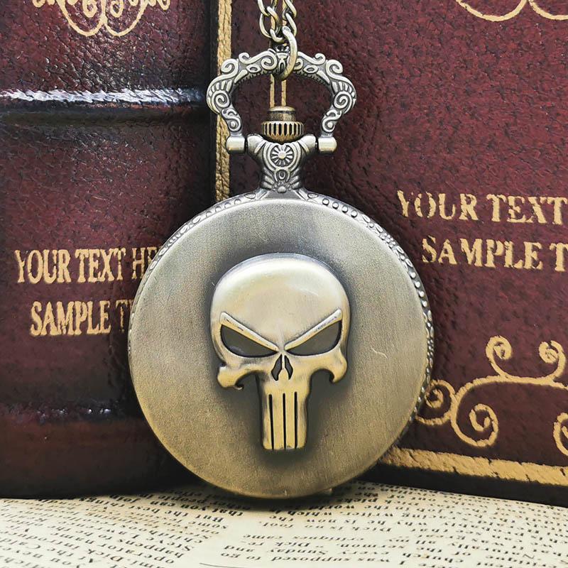 Creative Cool Skull Quartz Pocket Watch Chain Pendant Necklace Reloj De Bolsillo Men Women Gift