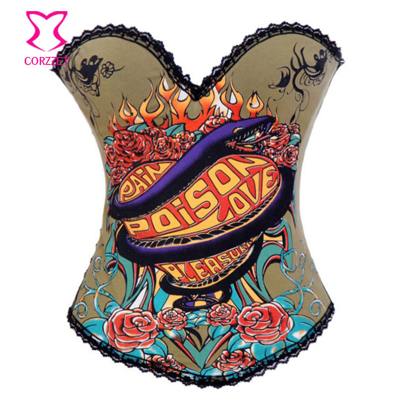 Snake and Floral Printed Cotton Sexy Club Bustier Waist Trainer Corset Overbust Corselet Burlesque Woman Gothic Corsets