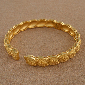 Image 4 - Anniyo Middle East Arab Dubai Bangle Bracelet for Women African Gold Color Jewelry Trendy Gifts (4PCS/LOT) #117806
