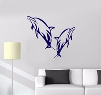 Vinyl Decal Dolphins Marine Decor Bathroom Art Ocean Wall Stickers Free Shipping
