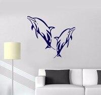 Vinyl Decal Dolphins Marine Decor Bathroom Art Ocean Wall Stickers Free Shipping
