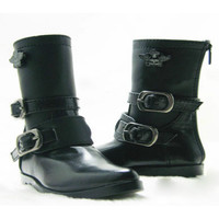 1/4 SD BJD boots leather shoes black white msd