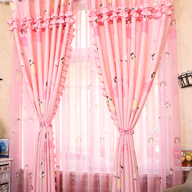 Modern and lovely cotton kids curtains for living room princess pink ...