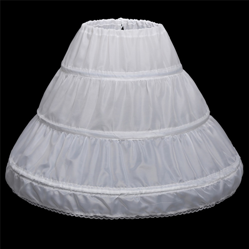 White Children Petticoat 2019 A-line 3 Hoops Kids Crinoline Bridal Underskirt Wedding Accessories For Flower Girl Dress