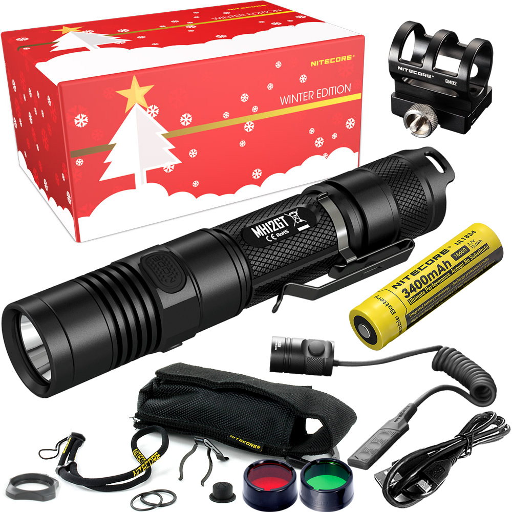 NITECORE MH12GT Hunting Holiday Gift Set 1000 Lumen USB Rechargeable Flashlight for Outdoor search Portable Torchs Free Shipping 2017 nitecore riding holiday gift set mh12 1000lms usb rechargeable flashlight for outdoor bicycle portable torchs free shipping