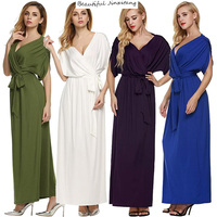 Large Size Summer Dress Women 2017 New Sexy V Neck Pure Color Dresses Fashion Loose Long