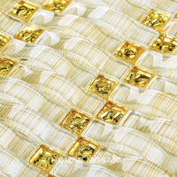 3D Crystal Glass mixed Gold Foil Mosaic Golden Color Arched Dense Grid Glass Tiles, Living room Tiles bathroom shower